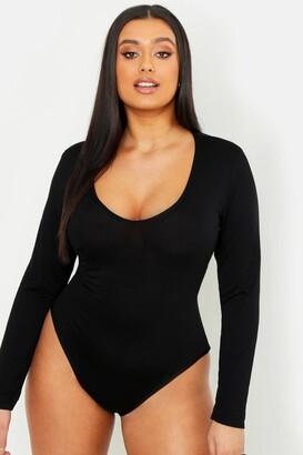 boohoo Plus Basic Long Sleeve V Neck Body Suit