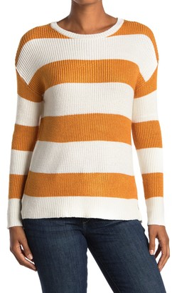 For The Republic Long Sleeve Crew Neck Striped Sweater