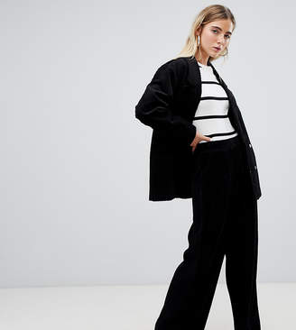 Weekday piping detail velvet trousers in black