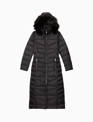 Calvin Klein Quilted Faux Fur Hood Full Zip Maxi Jacket