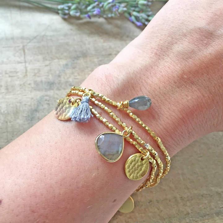 77fe3db8fd693 Ashiana London Gold Gemstone Friendship Charm Bracelet Set