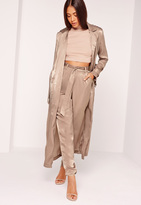 Missguided Buckle Duster Coat Brown