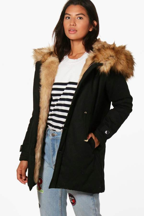 Boutique Faux Fur Trim Hood Parka