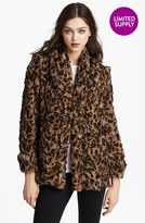 Alice + Olivia Leopard Print Faux Fur Jacket
