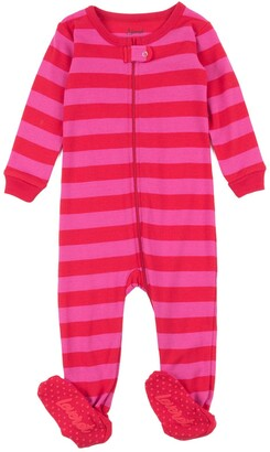 Leveret Red and Pink Stripes Footed Sleeper Pajama