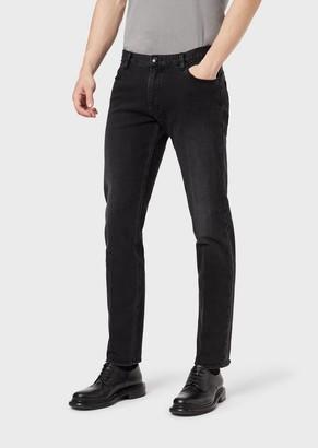 Giorgio Armani Slim-Fit, Low-Waisted Jeans Made From 10.5 Oz. Stretch Cotton Denim