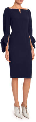 Roland Mouret Rosslare Long-Sleeve Button-Waist Dress