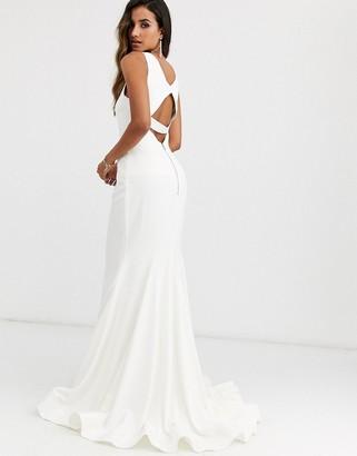 Jovani high neck fishtail dress-White