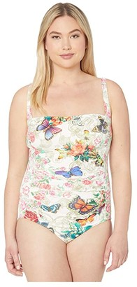 Johnny Was Plus Size Holly Bandeau One-Piece (Multi) Women's Swimsuits One Piece