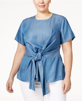 MICHAEL Michael Kors Size Chambray Tie-Front Top
