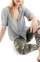 J.Crew Petite Women's Short Sleeve Stripe Button-Up Shirt