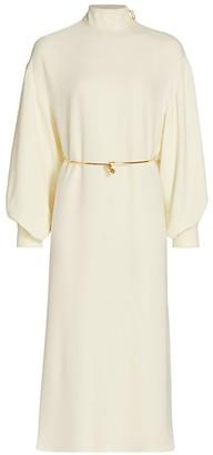 St. John Belted Silk Georgette Dress
