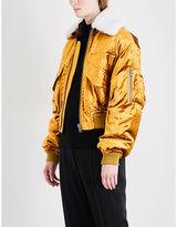 Haider Ackermann Detachable shearling-collar velvet bomber jacket