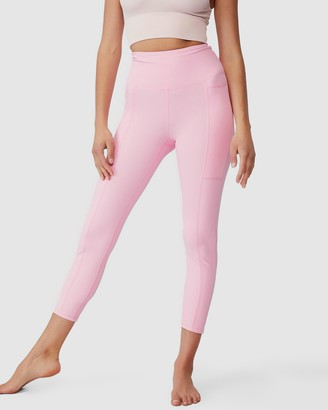 Cotton On Body Active - Women's Pink Tights - Rib Pocket 7-8 Tights - Size XS at The Iconic