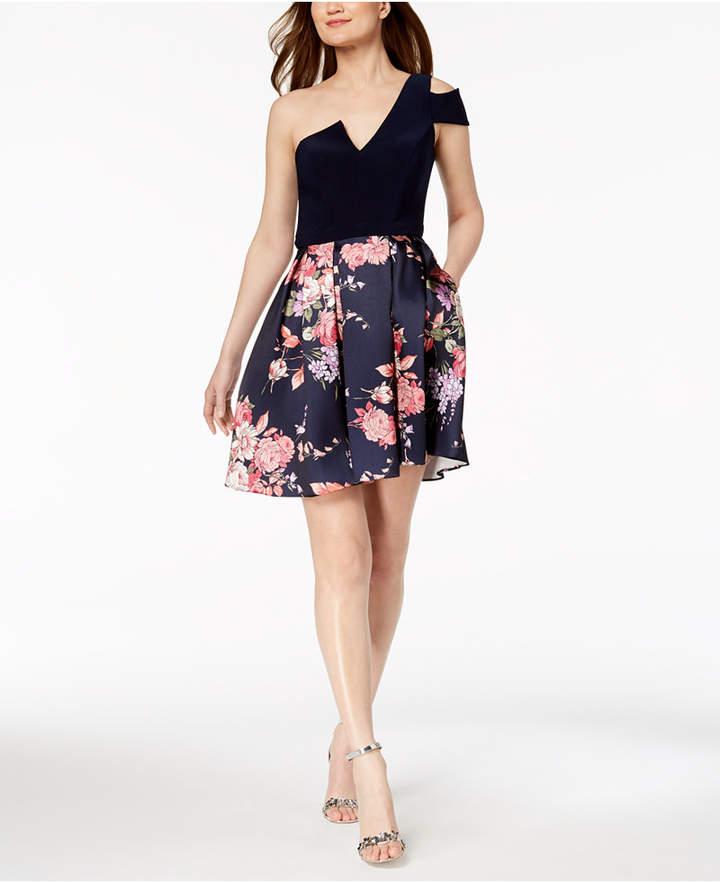 Betsy & Adam Cold-Shoulder Printed Fit & Flare Dress