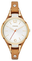 Fossil Georgia Two Tone Dial Stainless Steel 3 Hand Leather Saddle Strap Watch