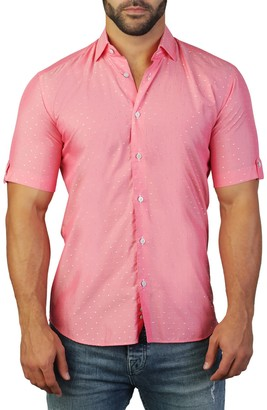 Maceoo Galileo Short Sleeve Dot Print Tailored Fit Dress Shirt