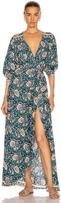 Natalie Martin Kate Long Sleeve Dress in Vintage Flowers Turquoise | FWRD