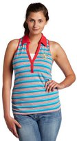 Southpole Junior's Plus Size Racerback Striped 2-fer Tank