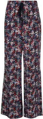 See by Chloe Floral Print Wide-Leg Silk Trousers