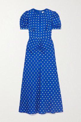 Self-Portrait Polka-dot Satin-jacquard Midi Dress - Blue