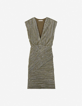 Maje Romea metallic pleated stretch-woven mini dress