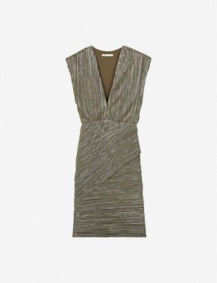 Maje Romea metallic pleated stretch-woven mini dress