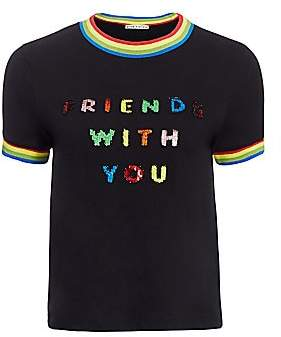 Alice + Olivia Women's Friends With You x Rylyn Embellished Ringer Tee