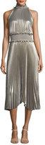 A.L.C. Kravitz High-Neck Sleeveless Metallic Pleated Midi Dress