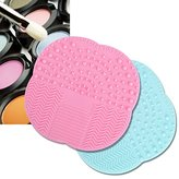 KINGLAKE®2 Pcs Makeup Brush Cleaner Brush Cleaning Mat High Quality Silicone Cleaning Pad Cosmetic Brush Mini Washing Scrubber with Suction Cup