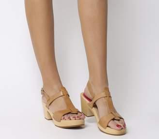 Swedish Hasbeens Greek Mid Heel Sandals Nature
