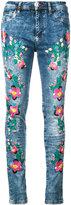 Philipp Plein floral embroidery skinny jeans - women - Cotton/Spandex/Elastane - 27