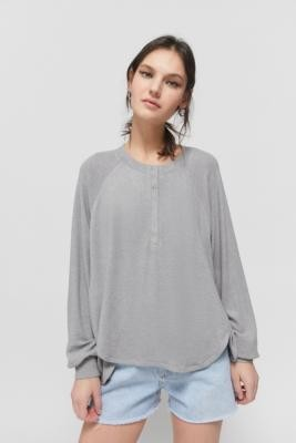Out From Under Colby Brushed Oversized Henley Top - Grey XS at Urban Outfitters