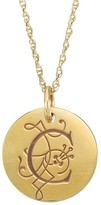 Posh Mommy 18K Gold-Plated Large Initial Disc Pendant w/Chain