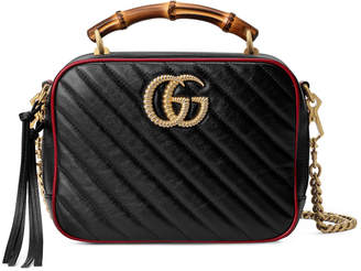 Gucci GG Marmont Torchon Leather Shoulder Bag with Bamboo Handle