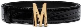 Moschino M buckle crocodile-effect belt