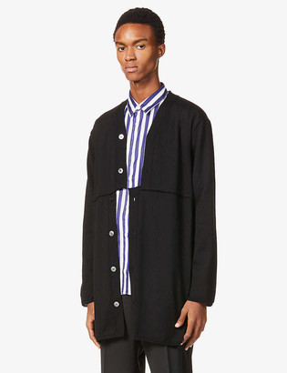 Comme des Garçons Homme Plus Asymmetric-fastening relaxed-fit wool cardigan