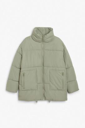 Monki High neck puffer coat