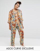 Asos Feather Print Traditional Shirt & Pant Pajama Set