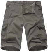 Elonglin Men Cargo Pants Vintage Cotton Sport Summer Shorts Multi Pockets No Belt 34