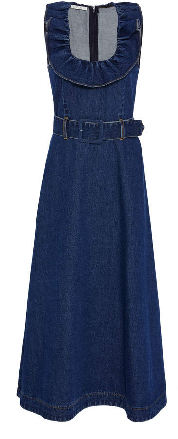 Co Sleeveless Belted Denim Midi Dress