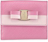 Salvatore Ferragamo Two-Tone Vara-Bow Clip Wallet, Pink