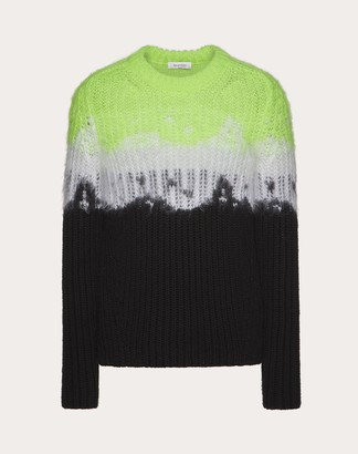 Valentino Jelly Block Crew-neck Sweater Man Neon Green/multicolor Mohair 100%, Cotton L