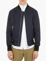 Ami Navy Brushed Cotton Bomber Jacket