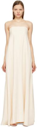 ANNA QUAN Beige Delfina Strapless Column Dress