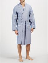 John Lewis Oxford Cotton Piped Robe, Navy