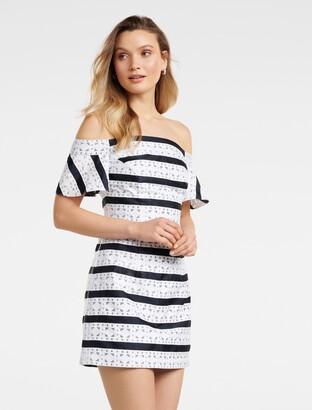 Forever New Madeline Off The Shoulder Mini dress - Navy/Porcelain - 6