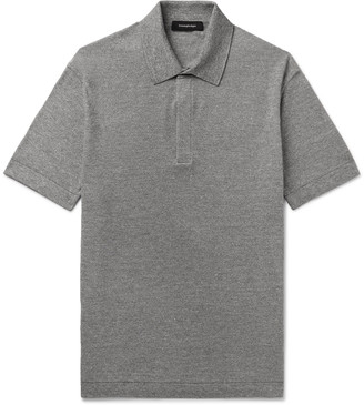 Ermenegildo Zegna Slim-Fit Melange Cotton, Linen And Silk-Blend Polo Shirt