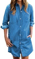uxcell® Women Long Sleeves Two Bust Pockets Denim Tunic Shirt