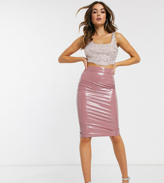 ASOS DESIGN Petite vinyl pencil skirt